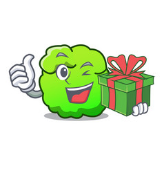 With gift shrub mascot cartoon style vector