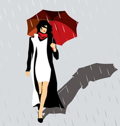 woman with a red umbrella vector image