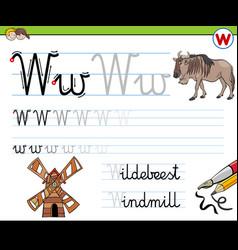 Writting letter w worksheet for children vector
