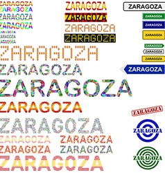 Zaragoza text design set vector