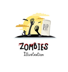 Zombie hands sticking out from ground vector