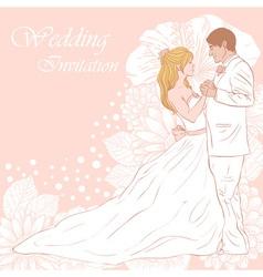 Bride and groom wedding invitation card vector image