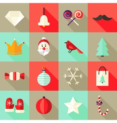 Christmas Square Flat Icons Set 1 Red and Mint vector image vector image