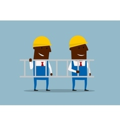 Happy cartoon engineers carrying ladder vector image