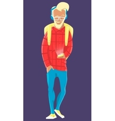 Man hipster walking with mobile phone in glasses vector image vector image