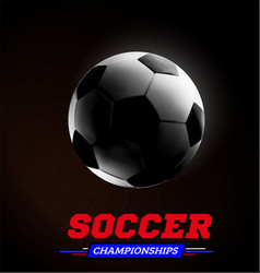 soccer or football ball in the backlight on black vector image vector image