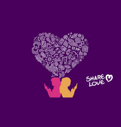 social media share love lesbian concept design vector image vector image