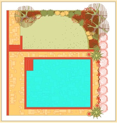 swimming pool landscaping vector image vector image
