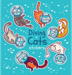 badge with diving cats in ocean stickers vector image vector image