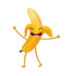 banana fresh fruit kawaii character vector image