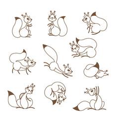 cartoon cute squirrel little funny squirrels vector image vector image