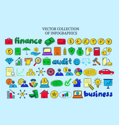 colored infographic financial elements collection vector image vector image