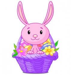 Easter basket with bunny vector image vector image