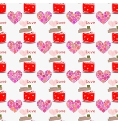 Heart and love potion seamless pattern Valentine vector image vector image