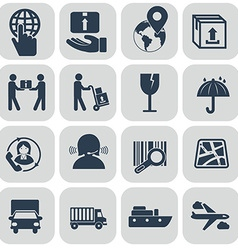 Logistics icons set on grey background vector image vector image