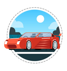 red luxury car icon vector image vector image