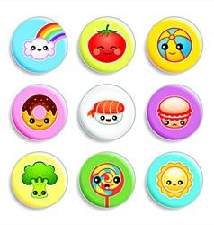 Kawaii badges - set III vector image vector image