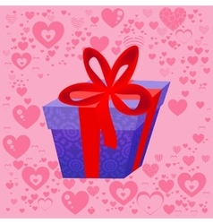 Present on the background of the heart Valentine vector image vector image
