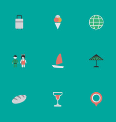 Set of simple holiday icons elements pair parasol vector