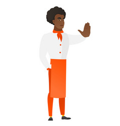 african chef cook showing stop hand gesture vector image