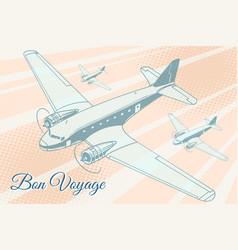 bon voyage aviation background vector image vector image