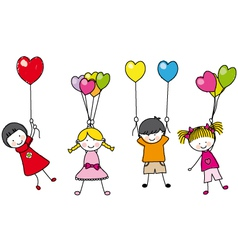 children playing with balloons vector image vector image