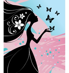 girl with butterfly vector image vector image