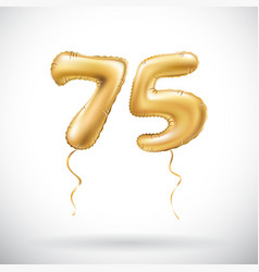 golden number 75 seventy five metallic balloon vector image vector image