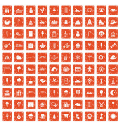 100 childrens parties icons set grunge orange vector image