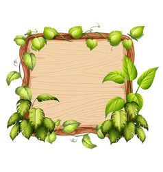 A wooden banner with green leaf vector