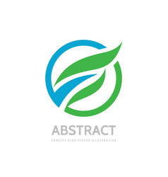 abstract nature concept logo design green leaves vector image