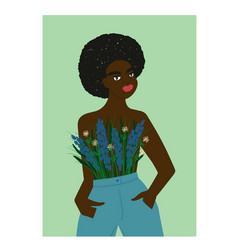 Afro american woman with flowers on her breast vector