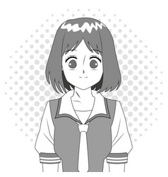 anime girl japanese character black and white vector image