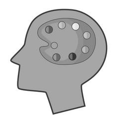 art palette in human head icon monochrome vector image