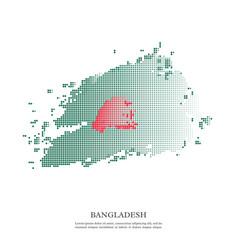bangladesh flag with halftone effect vector image