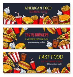 Banners fast food meal snacks and desserts vector
