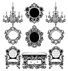 baroque furniture rich set collection vector image