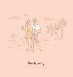 beach party romance romantic couple on date vector image
