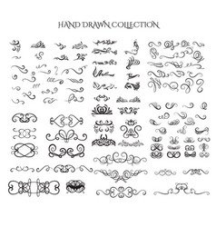 big collection hand drawn swirls and curles vector image
