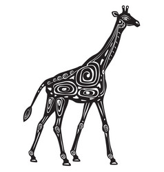black and white decorated stylized giraffe vector image
