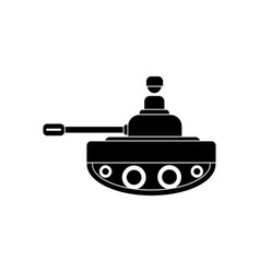 Black icon on white background soldier on tank vector