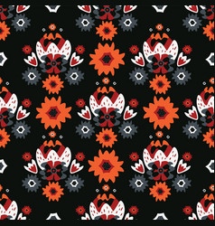 bohemian black red floral vector image