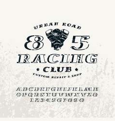 Bulk italic serif font and racing club emblem vector