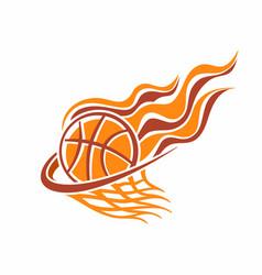 burning basketball ball in basket vector image