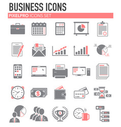 Business red grey icons set on white background vector