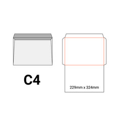 c4 envelope mockup a4 white template cut size vector image