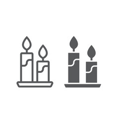 candle line and glyph icon flame and spirituality vector image