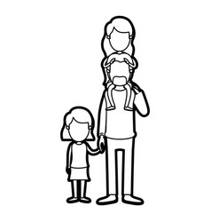 caricature thick contour faceless dad with vector image
