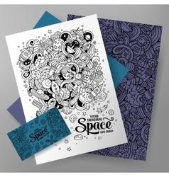 Cartoon cute doodles Space corporate vector