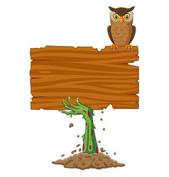 Cartoon zombie hand holding blank sign with owl vector